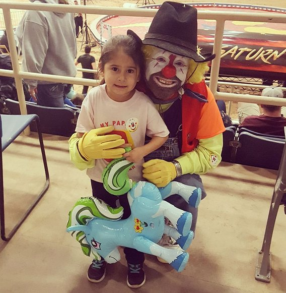 Klowning around with Noble Ramirez's daughter
